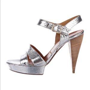 Lanvin metallic cracked leather sandals